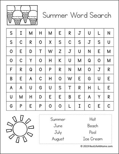 picture about Printable Wordsearch for Kids named Simple Summer time Phrase Seem Absolutely free Printables for Small children