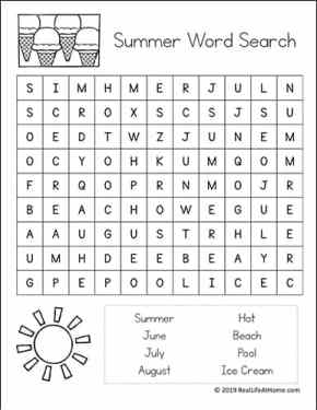 Easy Summer Word Search for Kids