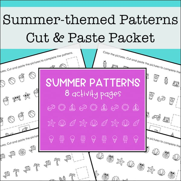 photograph about Free Printable Patterns known as Slice and Paste Summer months Styles Worksheets Packet (Totally free