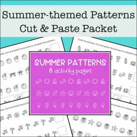 Free Printable Summer Math Patterns Worksheets Packet for Kids