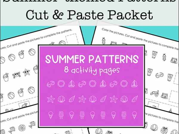 Cut and Paste Summer Patterns Worksheets Packet (Free Printables)