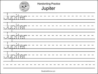 Jupiter handwriting page - free printable