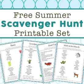 Free Summer Scavenger Hunt Printable Set