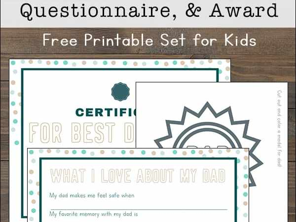 Free Printable Father's Day Questionnaire, Certificate, and Badge for Kids