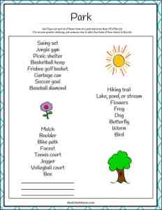 Park Scavenger Hunt Printable from Real Life at Home