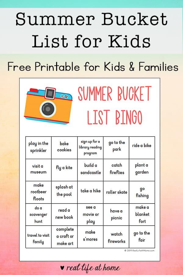 photo regarding Printable Bingo for Kids referred to as Summer season Bucket Listing for Youngsters Cost-free Printable Bingo Sheet