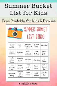 Looking for fun summer activities for kids? Kids and families will enjoy working through this free Summer Bucket List for Kids printable sheet. | Real Life at Home