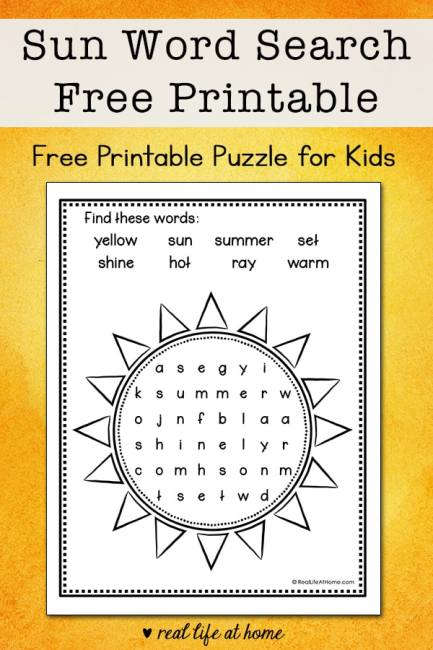 This easy summer sun word search printable is perfect for elementary-aged kids to solve and color. It features eight words about the sun. | Real Life at Home
