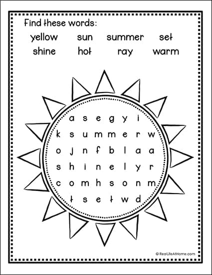 picture about Easy Word Search Printable identified as Uncomplicated and Free of charge Summer season Sunshine Phrase Glimpse Printable for Youngsters