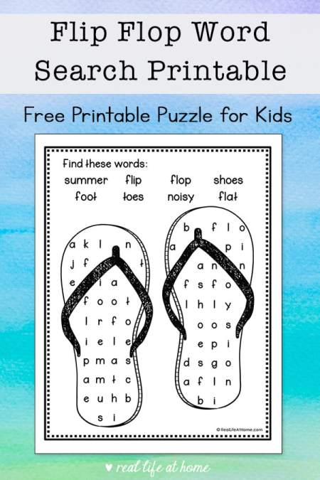 This easy flip flop word search printable is a perfect summer activity for elementary-aged kids to solve and color. It features eight words about flip flops.