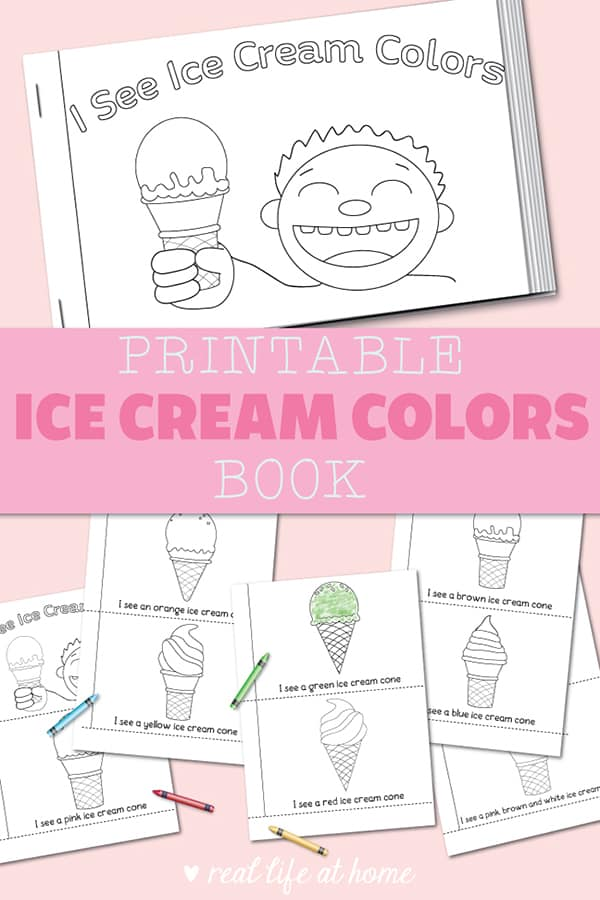 image relating to Printable Book referred to as Cost-free Ice Product Printable Colours E book for Preschool and