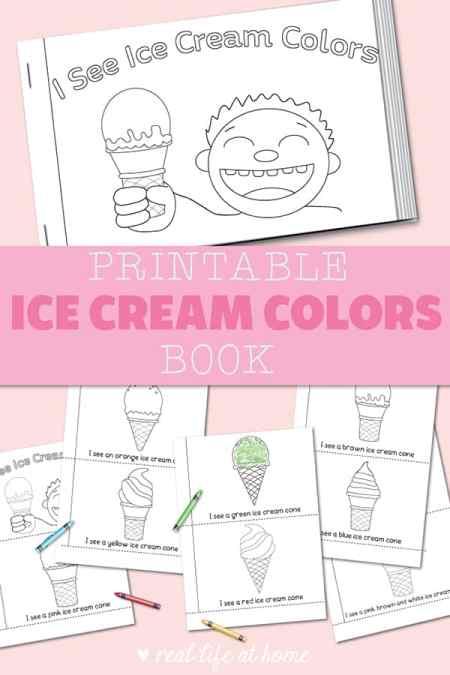 Printable Ice Cream Colors Booklet for Preschool and Kindergarten