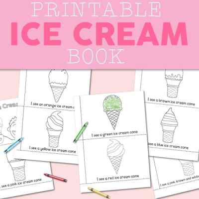 Printable Ice Cream Colors Booklet for Preschool and Kindergarten