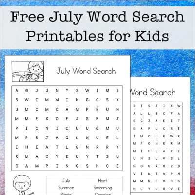 Free July Word Search Printable for Kids - includes July search terms. There are two versions of this printable with different levels of difficulty.