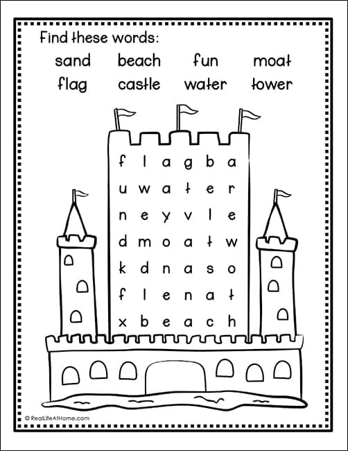 picture regarding Picture Find Printable identified as Sandcastle Term Look - No cost and Basic Seashore Term Uncover for Children