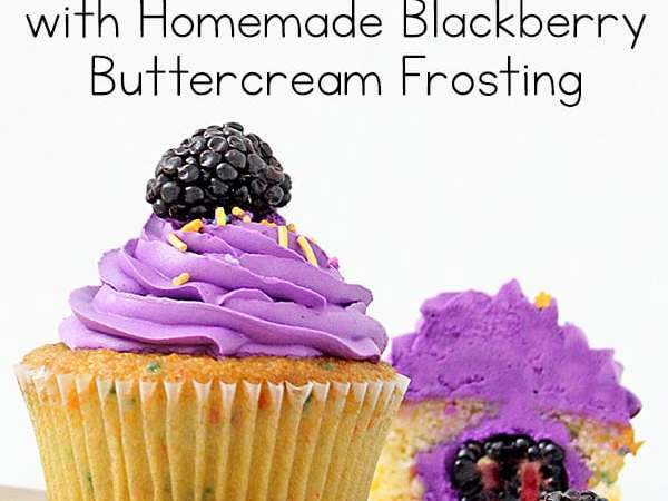 Fresh Blackberry Filled Cupcakes with Blackberry Buttercream Frosting