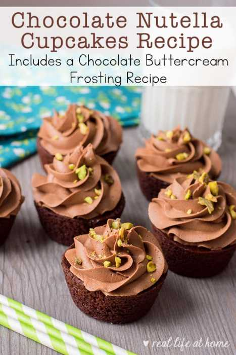 Enjoy this rich homemade chocolate Nutella cupcakes recipe made even better with pistachios and using this chocolate buttercream frosting recipe.