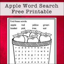 Apple Word Search Free Printable for Kids