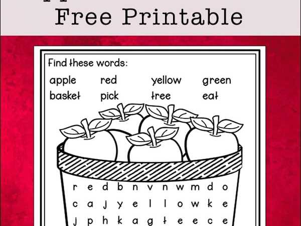 Apple Word Search Printable – Easy Word Find Puzzle for Kids