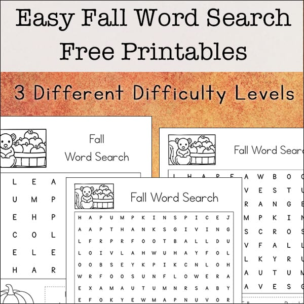 graphic about Fall Word Search Printable named Simple Drop Phrase Look Absolutely free Printables Preset for Children