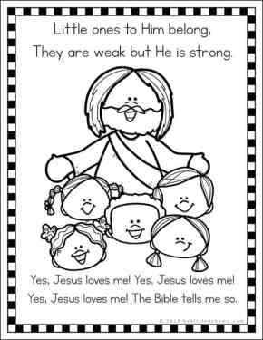 Free Jesus Loves Me Coloring Page from Real Life at Home (from the Jesus Loves Me coloring page set)
