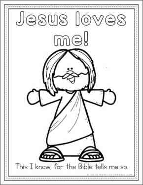Free Jesus Loves Me Coloring Page from Real Life at Home