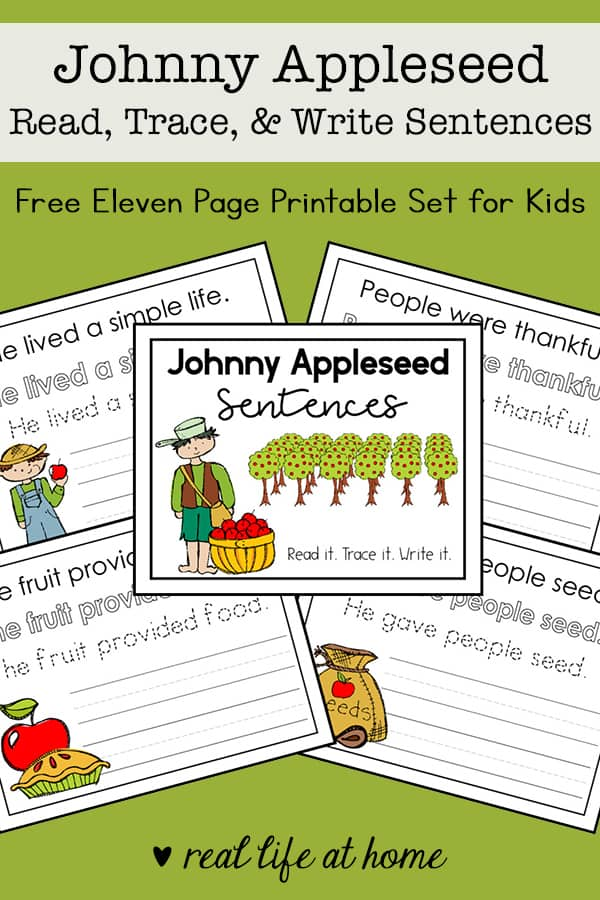 graphic about Johnny Appleseed Printable Story referred to as Johnny Appleseed for Children: Johnny Appleseed Copywork Free of charge