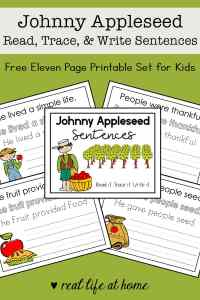 This Johnny Appleseed read, trace, and write copywork packet is a great way to learn about Johnny Appleseed for kids. The packet is 11 pages and perfect for preschool - 2nd grade.