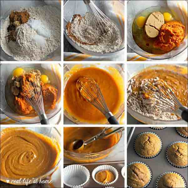 Process pictures of homemade pumpkin cupcakes