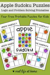 This free apple-themed printable sudoku puzzle set for kids includes four printable logic puzzles that have 4x4 grids and featuring different colors of apples