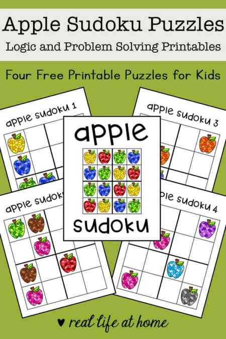 This free apple-themed sudoku printable puzzle set for kids includes four printable logic puzzles that have 4x4 grids and featuring different colors of apples