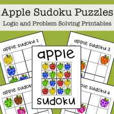 This free apple-themed sudoku printable puzzle set for kids includes four logic puzzles that have 4x4 grids and feature different colors of apples