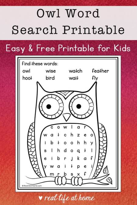 Owl Word Search for Kids (Fall Word Search for Kids)