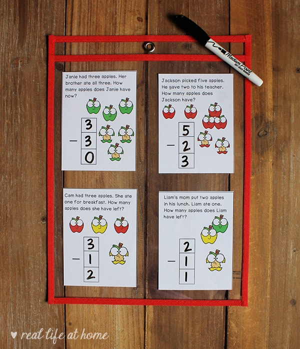 Subtraction Math Task Cards for Kindergarten and 1st Grade (Free Printables from Real Life at Home)