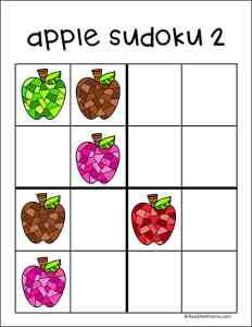 Free Printable Apple-themed Sudoku Puzzle for Kids