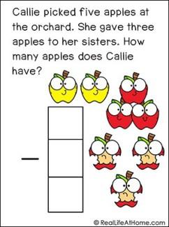 Apple Subtraction Story Problem Math Task Card