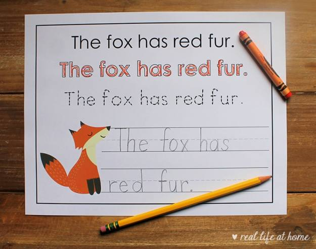 Fox Handwriting Page from the Woodland Animals Copywork Packet at Real Life at Home