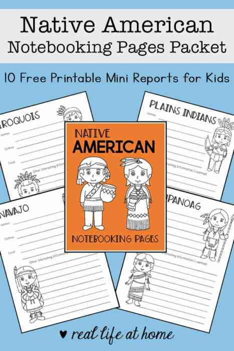 Native American Notebooking Pages Packet (Free Printable Report Pages)