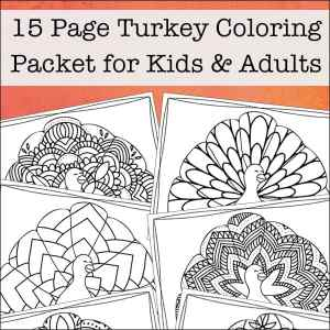 Looking for more intricate Thanksgiving coloring pages? Enjoy this free printable Thanksgiving coloring book filled with 15 turkey coloring pages for kids and adults.