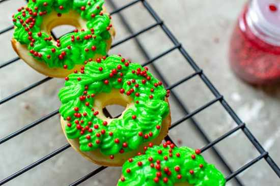 Festive and Easy Christmas Recipe: Homemade Baked Mini Donut Wreaths Recipe
