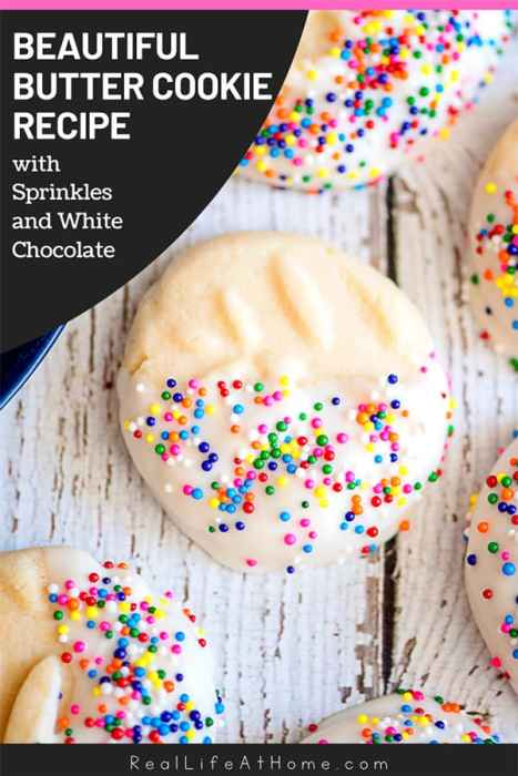 Easy and Beautiful Butter Cookies Recipe with Sprinkles and White Chocolate