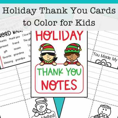 Print this free set of eight thank you cards to color for kids. There is also a thank you note word bank page with helpful words and phrases.