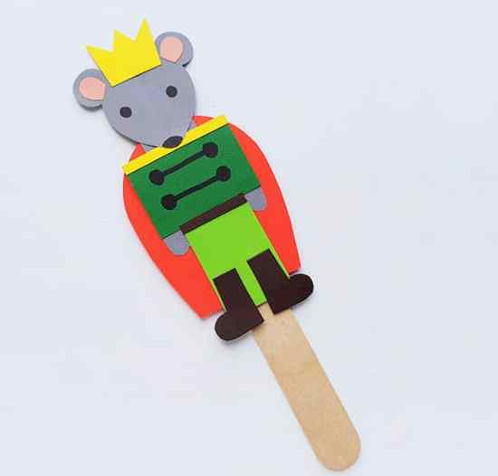 Nutcracker Craft for Kids: Mouse King Stick Puppet