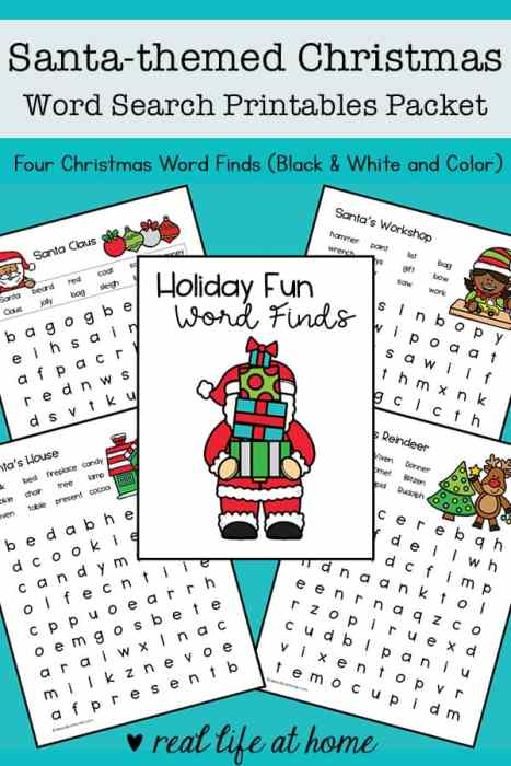 Santa-themed Christmas Word Search Printables from Real Life at Home