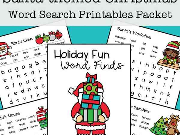 Free Christmas Word Search Printables Packet: All about Santa, Reindeer, Elves, and More