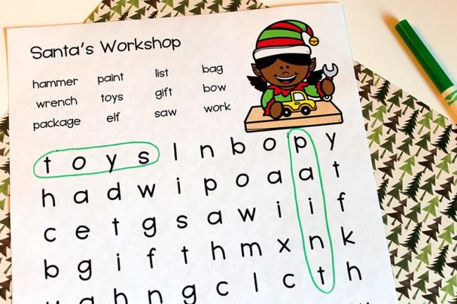 Santa's Workshop Word Search Printable (Free from Real Life at Home)