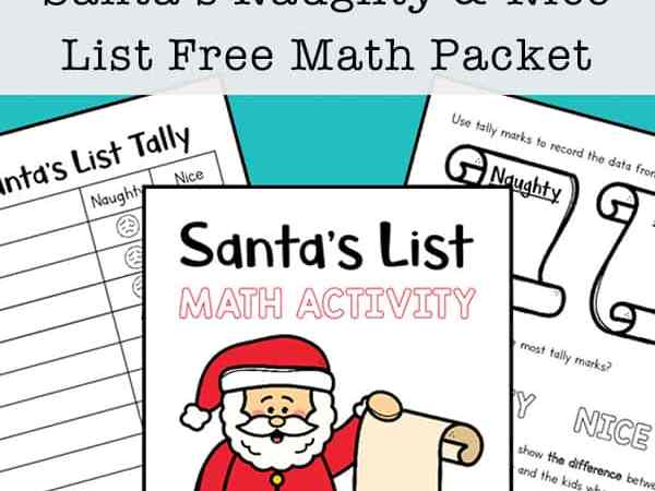 Santa's Naughty and Nice List Christmas Math Activity Packet