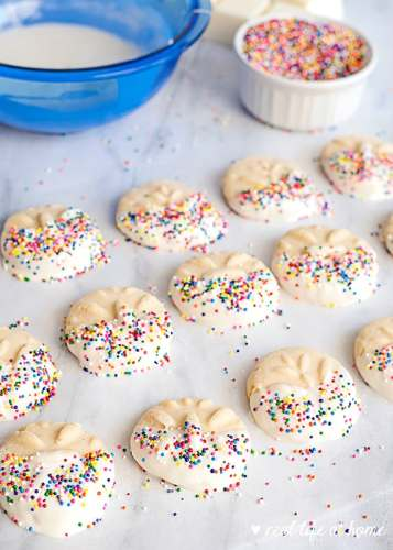 Homemade Butter Cookies with Nonpareils and Vanilla Candy Coating (recipe from Real Life at Home)