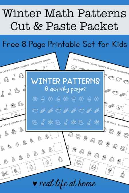 Winter Math Patterns Worksheets for Kids - Free 8 page packet
