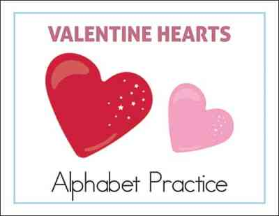 Valentine Hearts Alphabet Practice Worksheets Packet